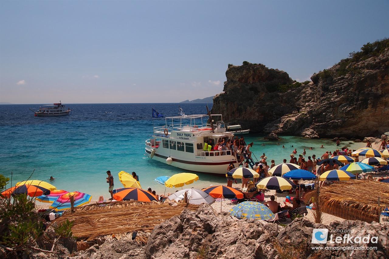 Boat trip to Agiofili beach Lefkada island