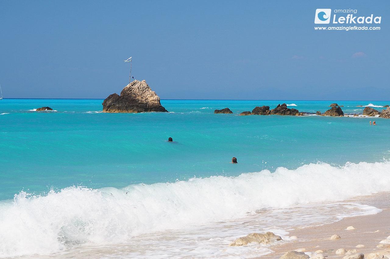 Waves of Lefkada, blue colours