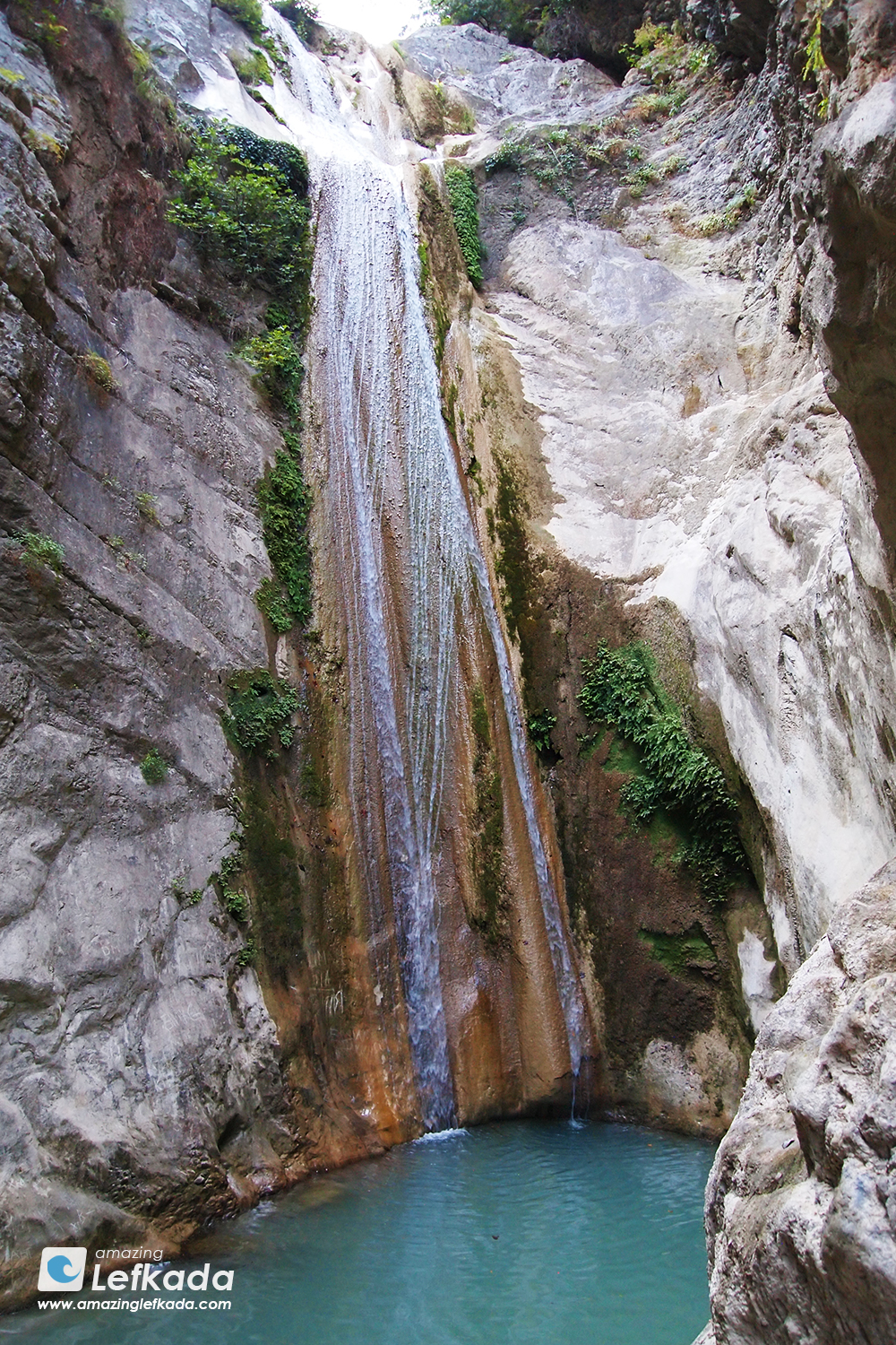 Dimosari waterfall in Lefkada island