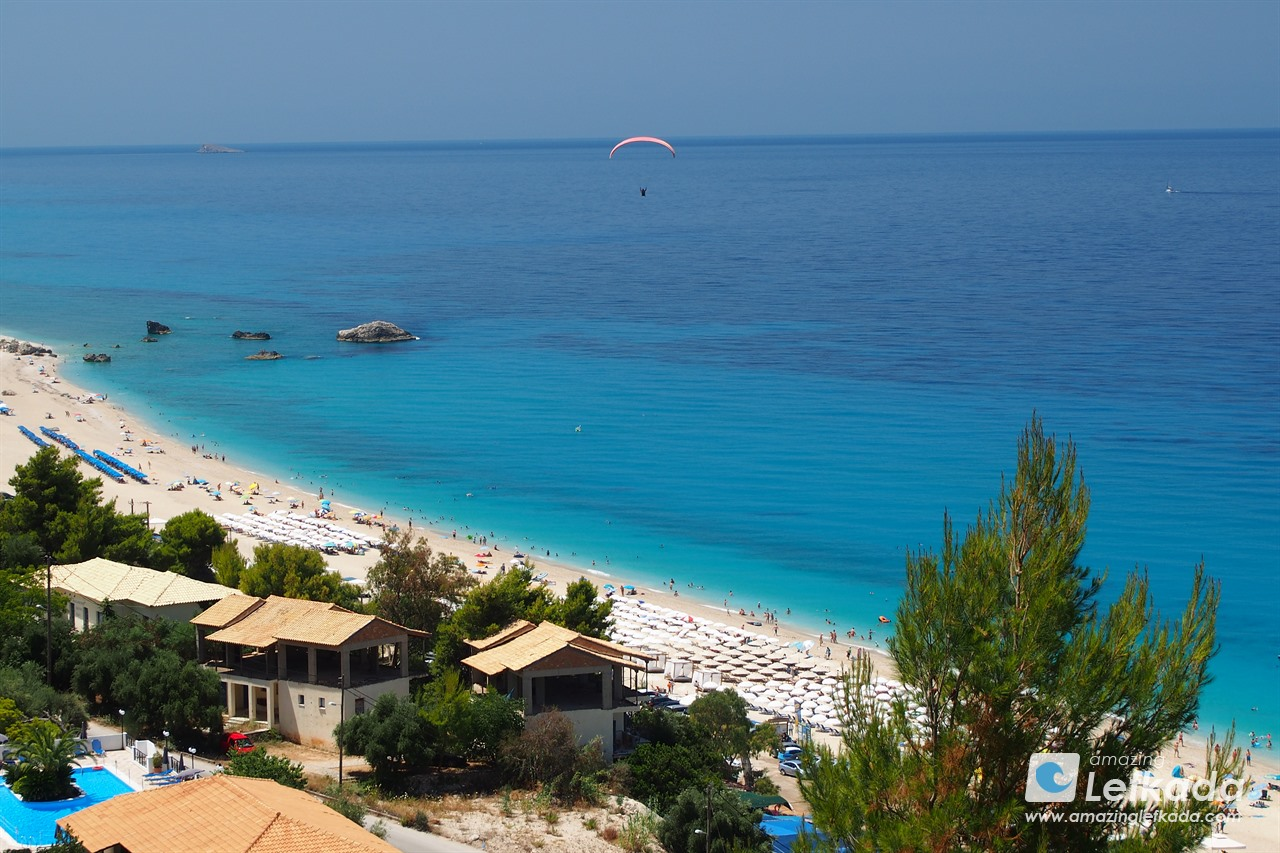 Paraglide at Kathisma beach, Lefkada
