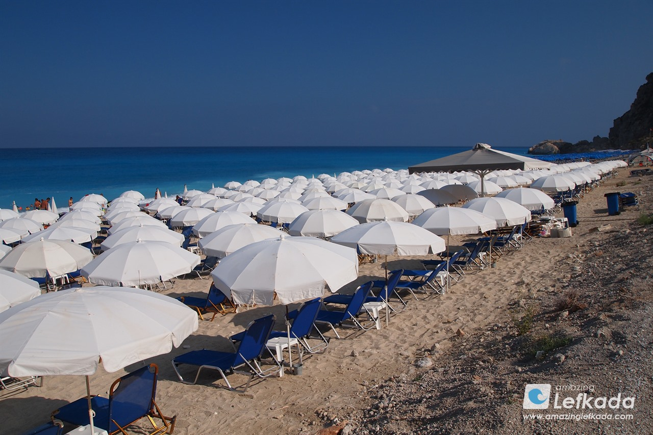 Parasols at Kathisma beach, Lefkada