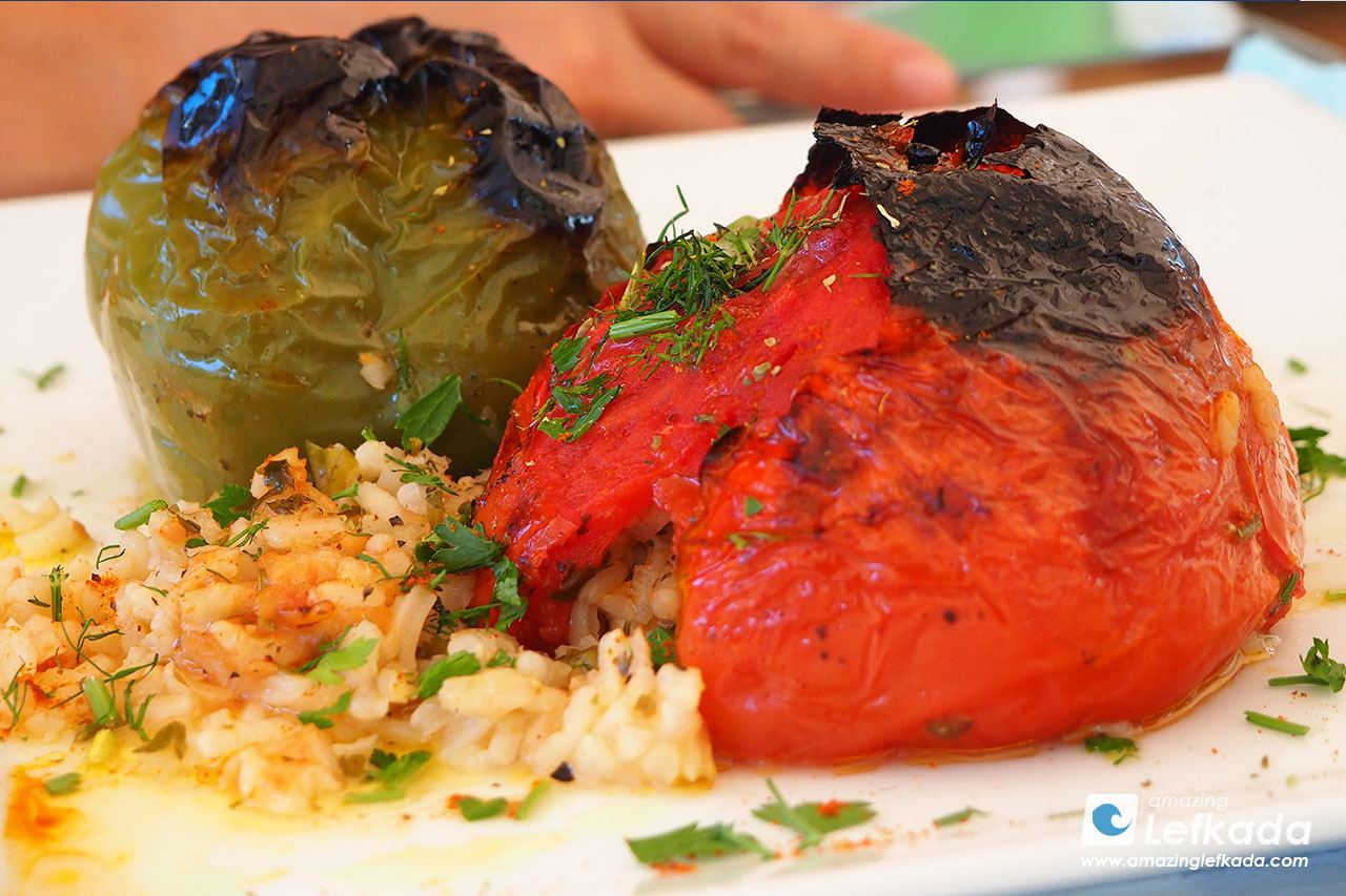 Lefkada cuisine, stuffed tomatoes