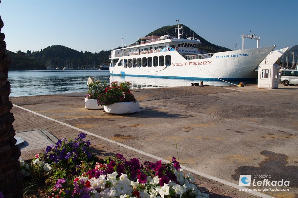 Lefkada ferry port in Nidri