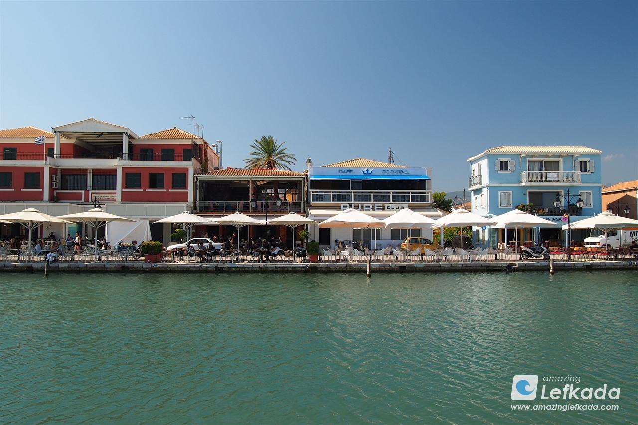 Lefkada town seaside promenade