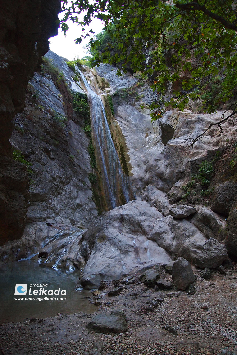 Waterfall in Lefkada, called Dimosari